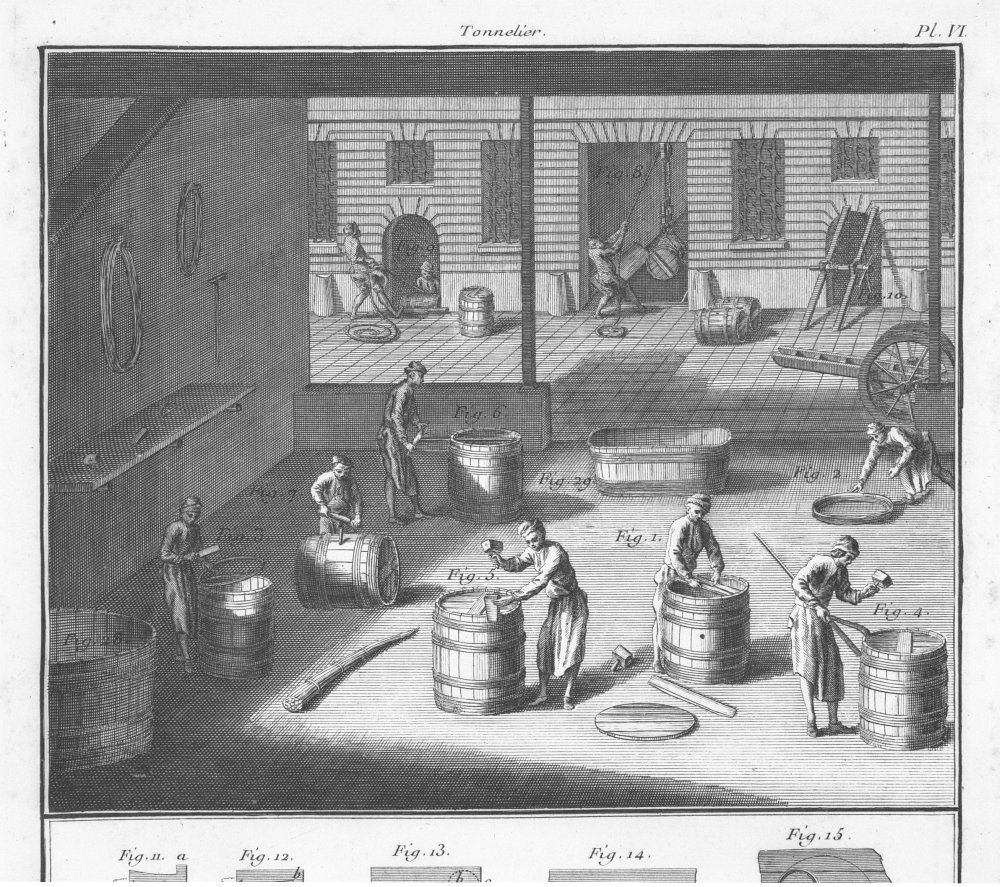 Tonneliers (or coopers) making barrels