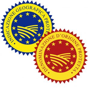 IGP (top) and DOP (bottom) certification logos. From ISeven Servizi food certification company