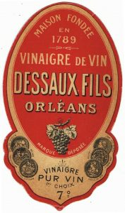 A label for a bottle of Dessaux Fils wine vinegar